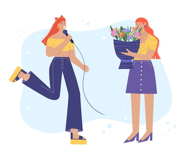 A young woman sings with a microphone. woman gives her friend a bouquet of flowers.  illustration in cartoon style.