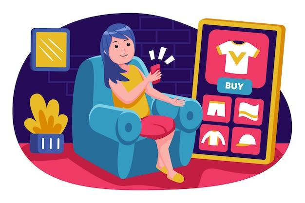 Молодая женщина сидит, чтобы покупать продукты со смартфоном