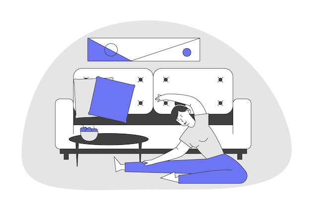 Young woman sitting on floor in domestic room interior doing stretching exercises