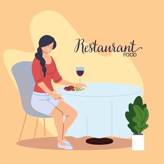 ワインイラストデザインのグラスで夕食を食べて美しいレストランに座っている若い女性