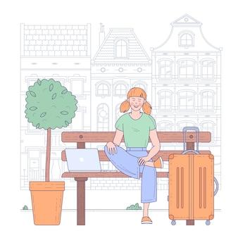 空港ターミナルに座っている若い女性。旅行と休暇の概念。