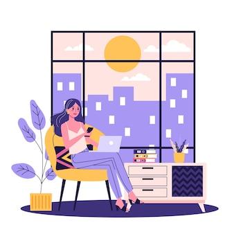 노트북 컴퓨터와 안락의 자에 앉아 젊은 여자. 프리랜서 라이프 스타일에 대한 아이디어. 만화 스타일의 그림