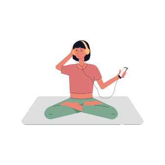 요가 명상 로터스 포즈에 앉아 음악을 듣고 젊은 여자. 헤드폰에서 편안한 여자 캐릭터입니다. 흰색 배경에 그림입니다.