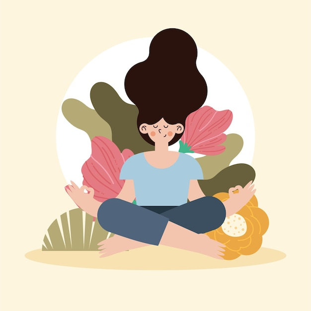 Молодая женщина сидит, медитируя