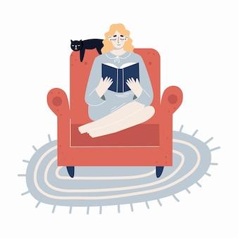 椅子に座って本を読んで若い女性