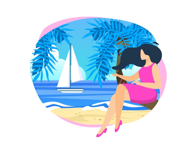 Young woman sitting on palm tree trunk at beach illustration