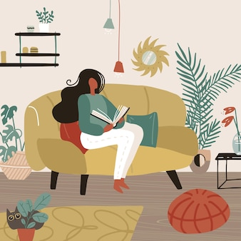 Young woman sitting on sofa in her room and reading a book weekend or free time spending time cartoon flat
