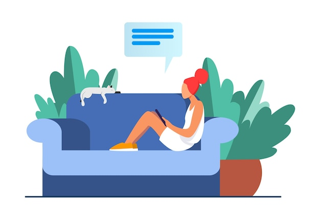 Young woman sitting on sofa with cat and mobile device. girl, chatting, smartphone flat vector illustration. home and relaxation
