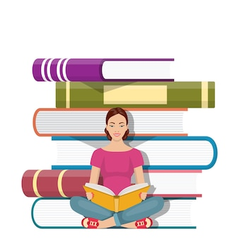 Young woman sitting on the stack of books