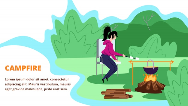 Young woman sitting in summer camp near campfire with bowler, frying marshmallow