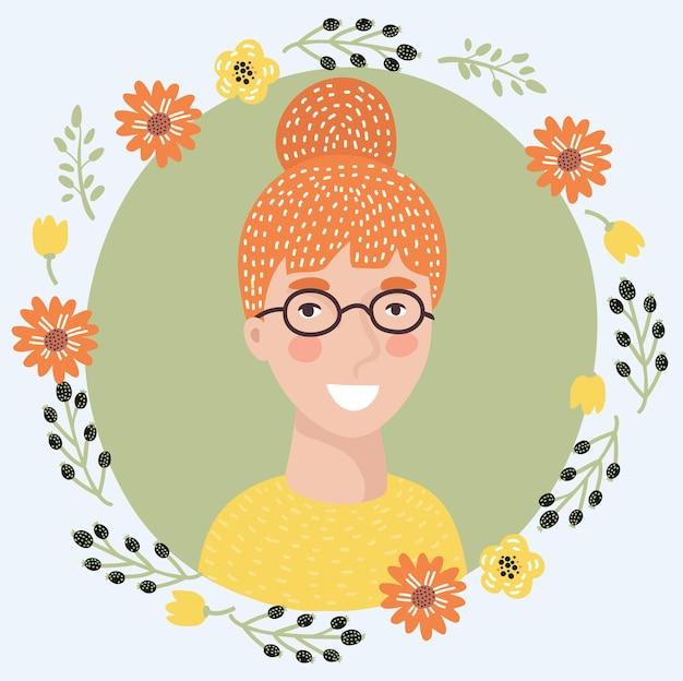 젊은 여자 회의적인 얼굴 아이콘 홍조와 파란 눈 의심스러운 표정을 가진 예쁜 빨간 머리 소녀...