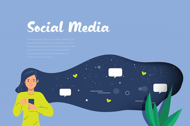 Young woman on social media infographic for chatting.