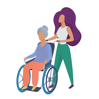 Young woman social worker volunteer caring old disabled woman in wheelchair  illustration