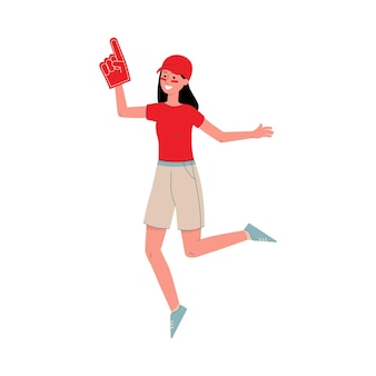 Young woman a sport fan in red t-shirt and cap supporting her football or baseball team on competitions, flat isolated .