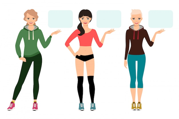 Young woman in sportswear presentation vector illustration. female fitness model shows sports product isolated