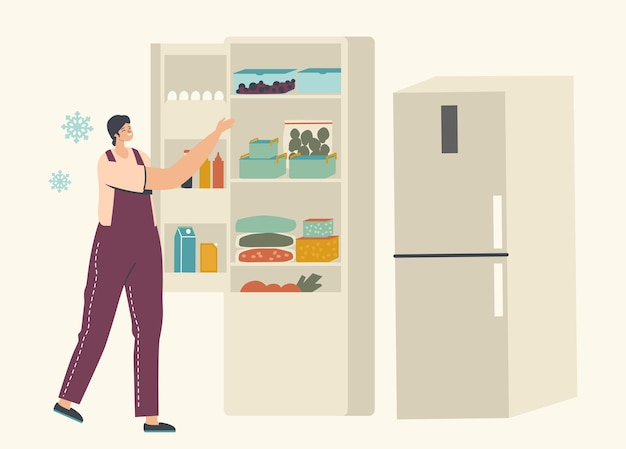 Young woman stand near open refrigerator with packages of frozen vegetables and containers with iced berries