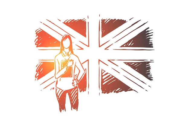 Young woman standing by great britain flag illustration