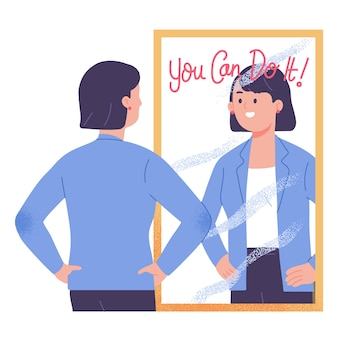 거울 앞에 서있는 젊은 여자는 동기를 부여하고 당신이 그것을 할 수 자신감을 벡터 일러스트 레이 션