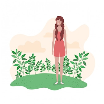 Young woman standing with landscape illustration