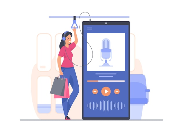 Young woman stands in public transport and listens to podcast recording using mobile application