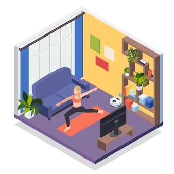 Молодая женщина остается дома изометрической иллюстрации тренировки йоги
