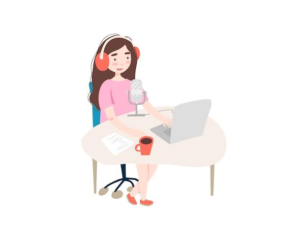 ノートパソコンで勉強して若い女性 Premiumベクター