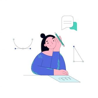 온라인으로 공부하는 젊은 여자. 학생 숙제. 온라인 교육 개념 그림.