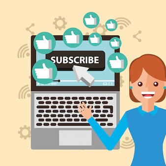 Young woman subscribe channel laptop likes