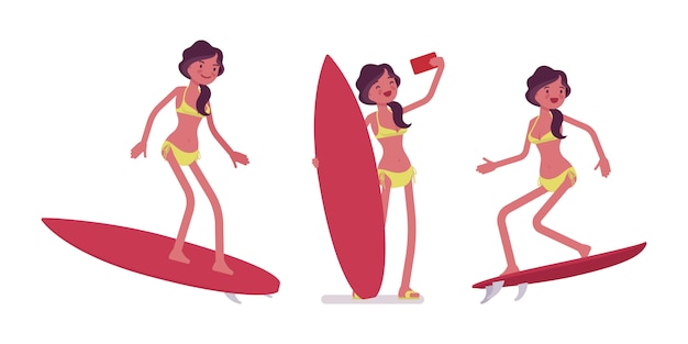 Young woman in summer beach outfit surfing