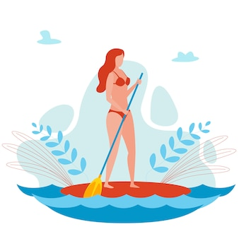 Young woman on sup board cartoon  character