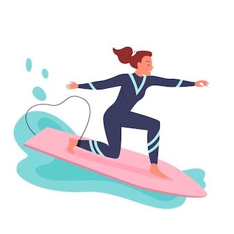 서핑 보드 벡터 일러스트 레이 션에 서핑 하는 젊은 여자. 만화 활동적인 행복한 소녀 서퍼는 잠수복을 입고 파도와 바다가 튀는 가운데 서핑보드로 서핑을 하고, 흰색으로 격리된 익스트림 해안 수상 스포츠