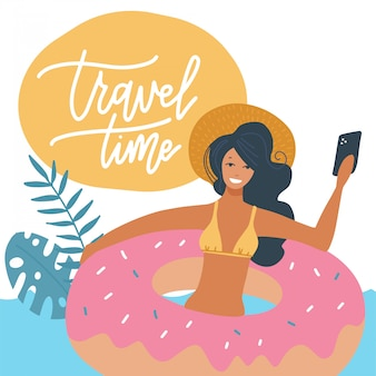 Young woman in swimsuit relaxing on a rubber inflatable donut ring in the sea or swiming pool   flat illustration. the girl on a summer holiday making selfie. travel time lettering quote