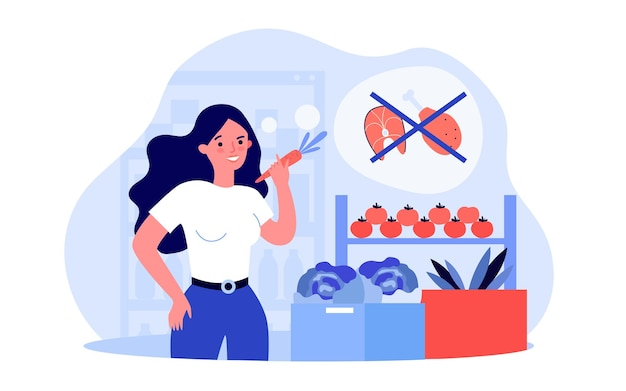 Young woman switching to vegetarian lifestyle. flat vector illustration. girl choosing vegetables and plant-based diet instead of meat and fish. vegetarianism, food, diet, lifestyle concept for design