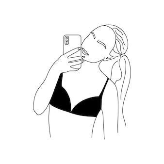 젊은 여자가 셀카를 걸립니다. 속옷에 추상 최소한의 여성 그림입니다. 세련된 선형 스타일의 여성 신체의 벡터 패션 삽화. 포스터, 문신, 로고용