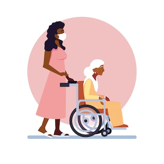Young woman takes care of old woman