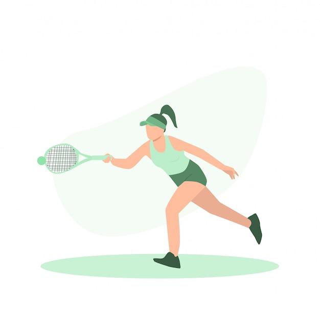 コートで若い女性のテニス選手