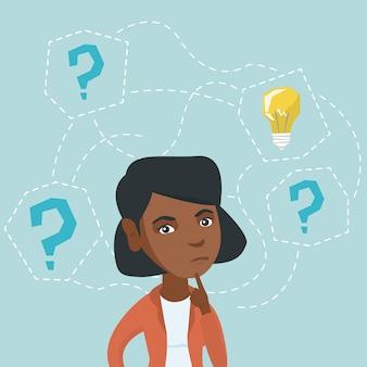 ビジネスのための新しいアイデアを考える若い女性。