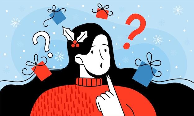 Молодая женщина думает о подарках на рождество и новый год. выбираем, что подарить на праздник любимому человеку или ребенку. мультяшная квартира.