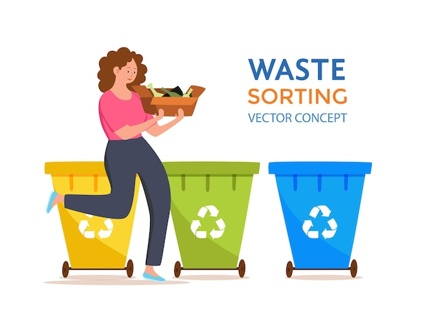 컨테이너에 유리 쓰레기를 던지는 젊은 여자. 다른 탱크에 폐기물을 분류하는 친환경 소녀와 폐기물 관리 개념