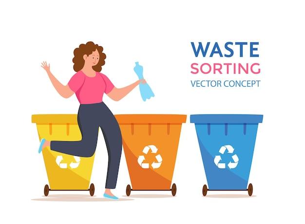 컨테이너에 플라스틱 쓰레기를 던지는 젊은 여자. 다른 탱크에 폐기물을 분류하는 친환경 소녀와 폐기물 관리 개념