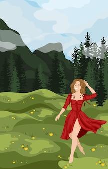 Молодая женщина-путешественница и турист смотрит на фоне пейзажа летних гор