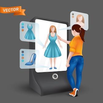 フィッティングシミュレーション機能を備えた3 d仮想ディスプレイミラーの前に服をしようとしている若い女性。タブレットの拡張現実を介したオンラインショッピングのイラスト