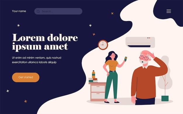 에어컨을 켜는 젊은 여자. 열 플랫 벡터 삽화로 땀을 흘리며 덥게 느끼는 노인. 더운 날씨, 배너, 웹 사이트 디자인 또는 방문 웹 페이지를 위한 가전 제품 개념