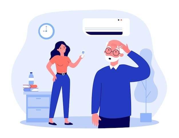 若い女性がエアコンをオンにします。年配の男性が暑さを感じ、熱のイラストで発汗します。暑い天気、バナー、ウェブサイトまたはランディングウェブページの家電コンセプト
