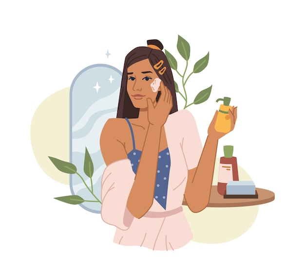 Young woman use essential cosmetics, natural cream or oil, cleans face skin flat cartoon