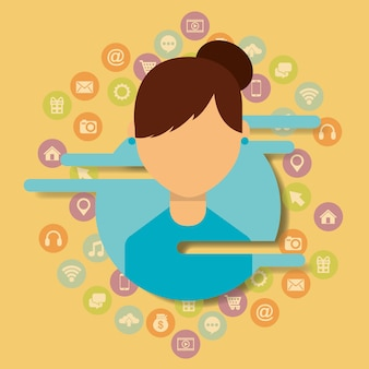 Young woman user social media communication icons