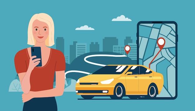 젊은 여성은 스마트폰으로 렌터카나 택시 서비스를 사용합니다. 벡터 일러스트 레이 션.