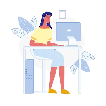 Young woman uses computer flat vector illustration