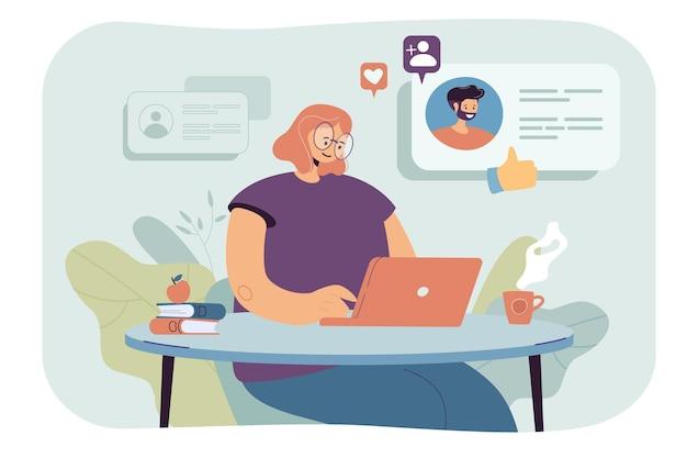 Молодая женщина, использующая компьютер для онлайн-знакомств. плоский рисунок