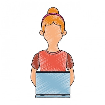 Young woman using laptop scribble faceless